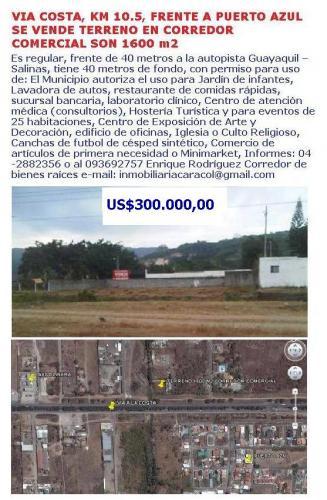 VIA A LA COSTA, FRENTE A PUERTO AZUL SE VENDE TERRENO A LA VIA, CORREDOR COMERCIAL DE 1600 M2
