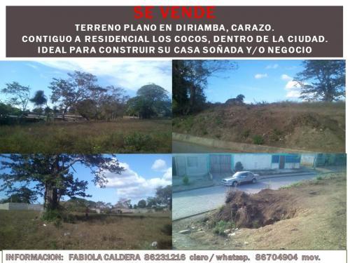 Terreno Plano, en el centro de la Ciudad de Diriamba