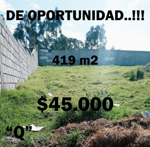 HERMOSO TERRENO EN EL VALLE DE LOS CHILLOS, A 5 MINUTOS DEL COLIBRÍ EN 45.000 NEGOCIABLES
